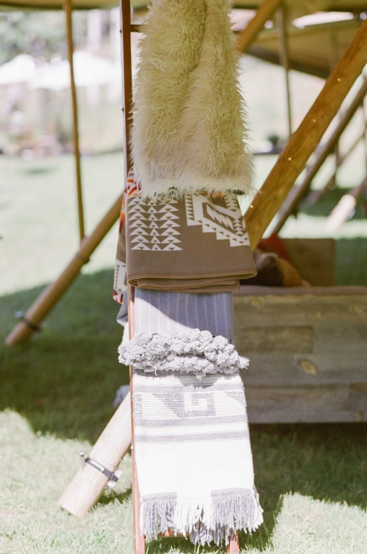 Decorative details at an outdoor wedding reception in Vail Colorado
