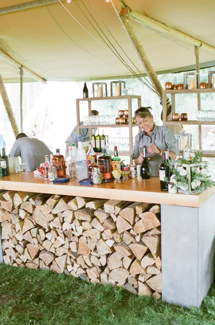 Bar in Teeepee At Eaton Ranch Wedding In Vail With Bella Event Design And Planning