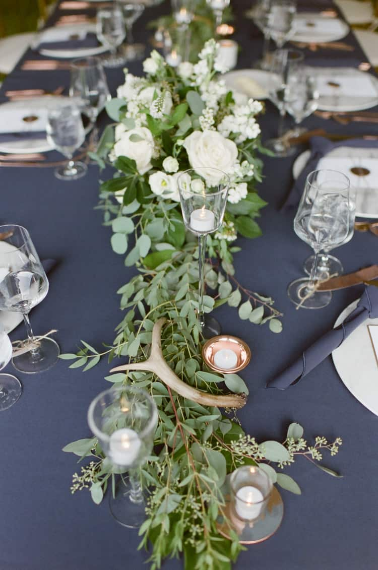 Antler On Tablescape At Eaton Ranch Wedding In Vail With Bella Event Design And Planning