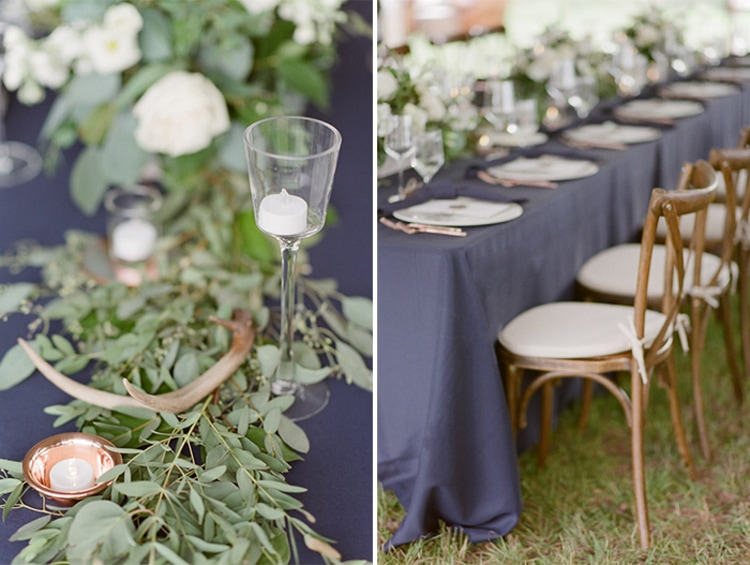 Rustic floral arrangement at a tented wedding reception in Vail Colorado
