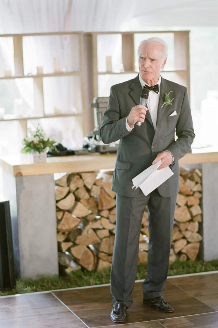 Dad Speaking At Wedding Reception At Eaton Ranch Wedding In Vail With Bella Event Design And Planning