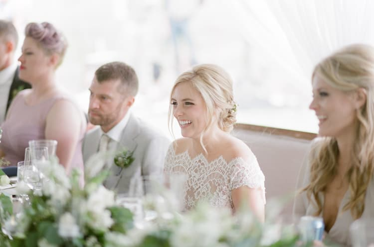 Bride Laughing At Eaton Ranch Wedding Reception In Vail With Bella Event Design And Planning