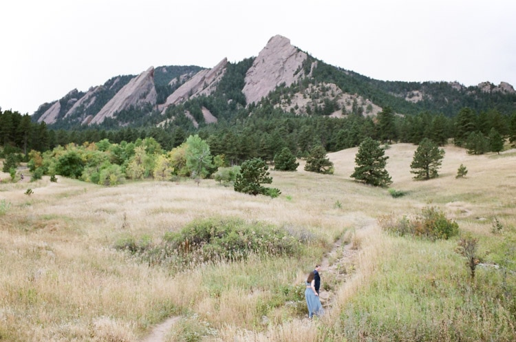 Scenic view of the Flatirons showing their primary rock formations during the Fall season