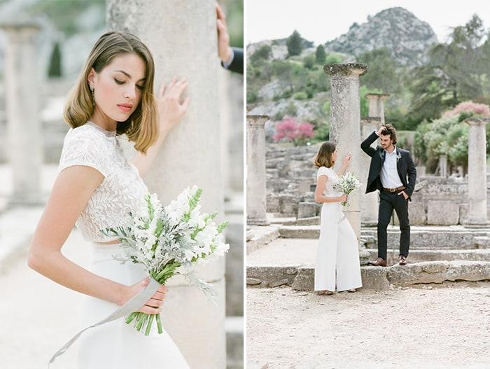 Bride To Be Wearing Manon Gontero Outfit At Glanum Ruins At Tamara Gruner Workshops