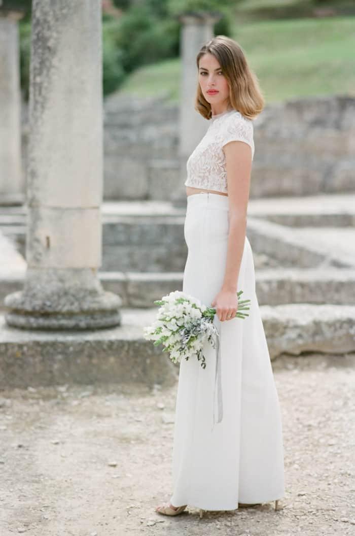 Bride With Bouquet At Glanum Ruins At Tamara Gruner Workshops