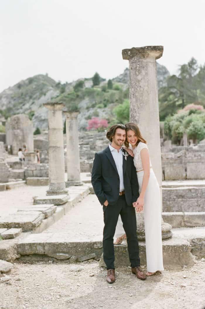 Happy Bride And Groom At Glanum Ruins At Tamara Gruner Workshops