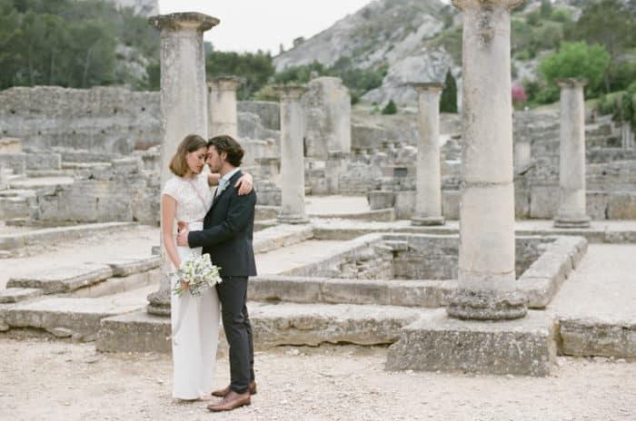Bride And Groom Hugging At Glanum Ruins At Tamara Gruner Workshops