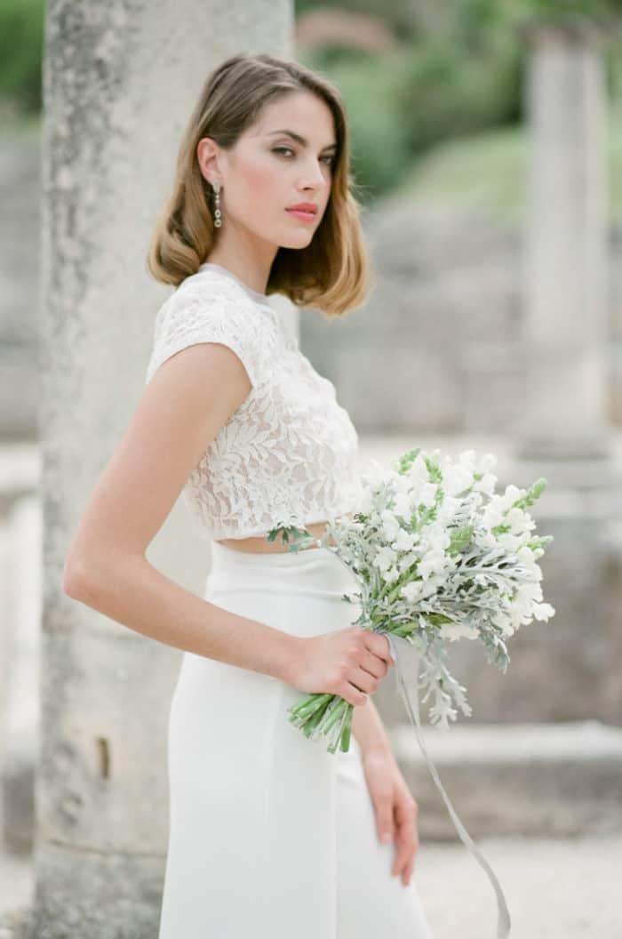 White Wedding Bouquet At Glanum Ruins At Tamara Gruner Workshops