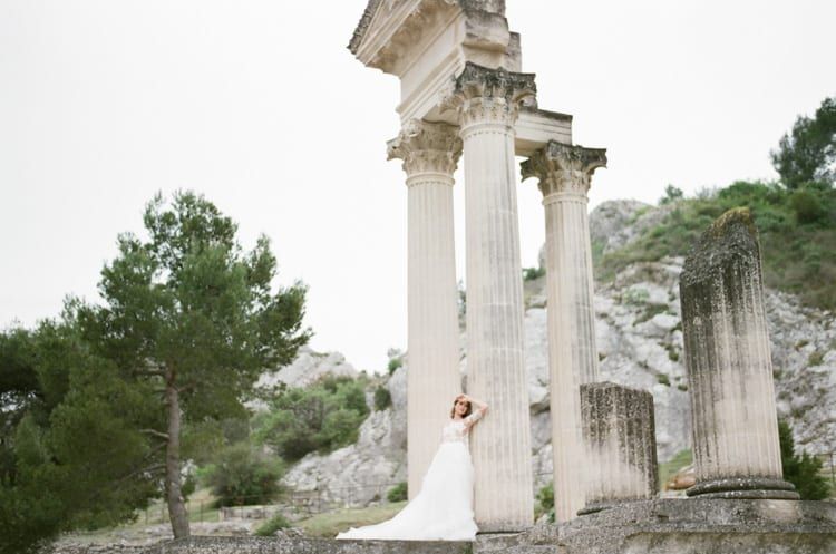 Bride Leaning On Column At Glanum Ruins At Tamara Gruner Workshops