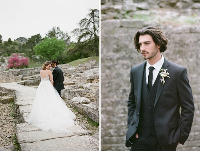 Bride And Groom Walking At Glanum Ruins At Tamara Gruner Workshops