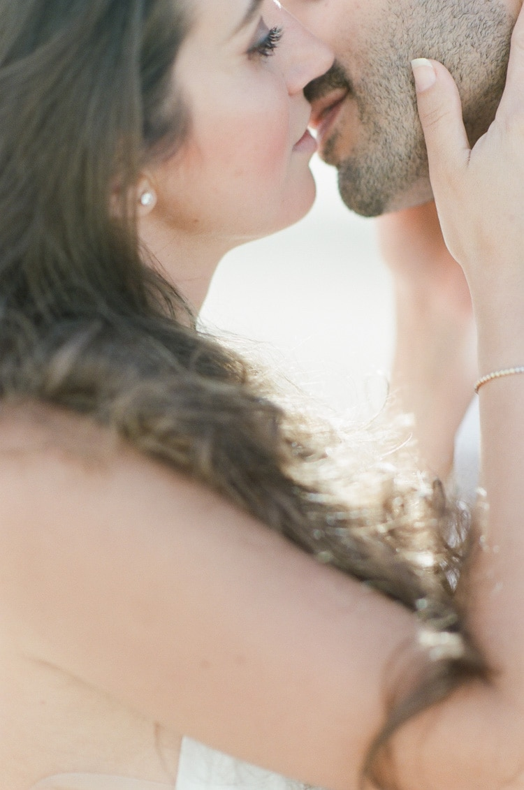 Close up of romance of couple leaning in to kiss