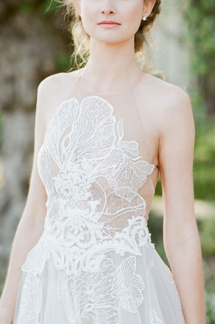 Wedding Dress Details Of Musat Official featuring soft tulle, lace elements, and unique illusion bodice