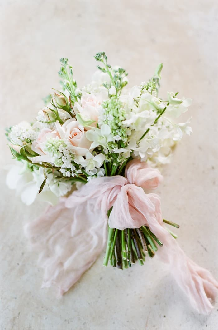 Wedding Bouquet with pink mesh