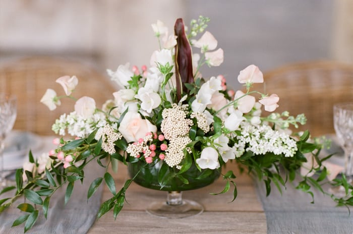 Floral Centrepiece of assortment of white flowers