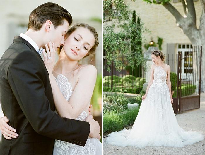 Wedding Couple Hugging and bride posing at estate