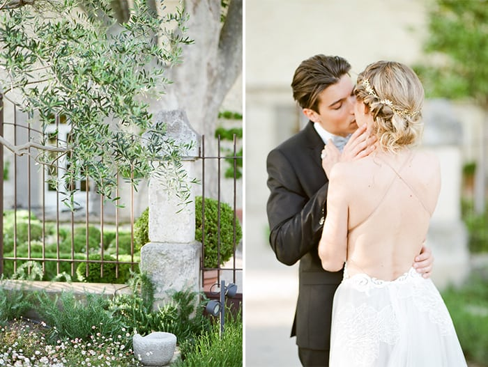Wedding Couple at garden with fencing and vegetation