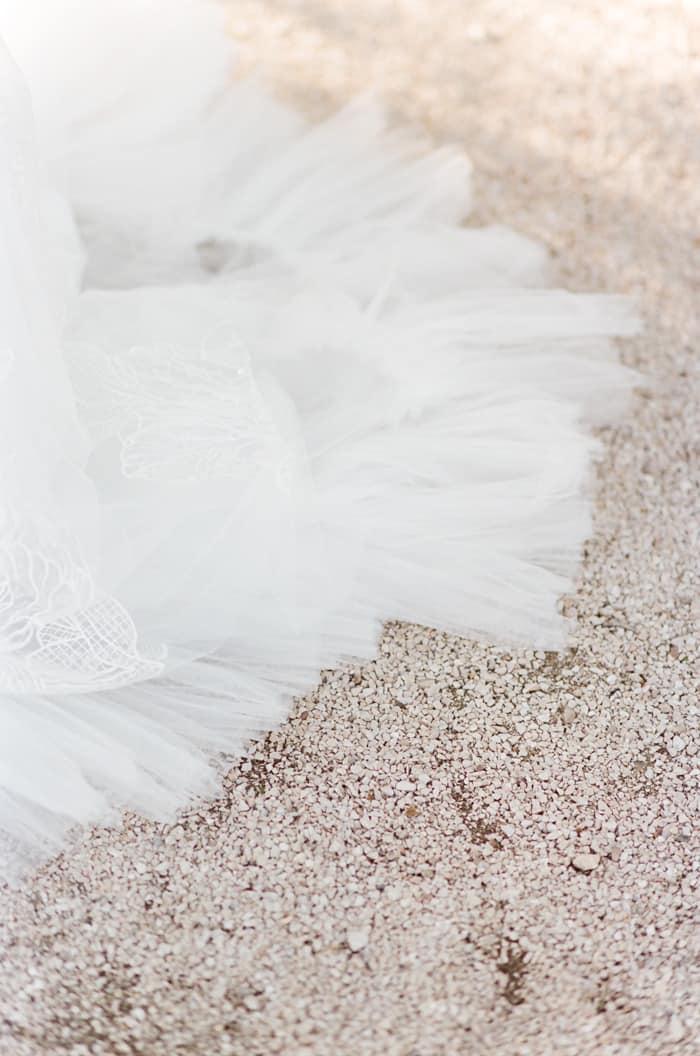 Bottom part of Wedding Dress on gravel