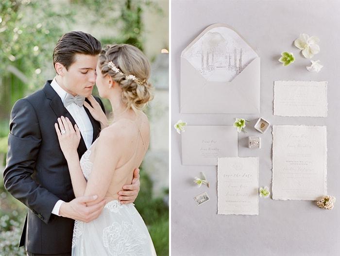 Happy Wedding Couple and Stylized wedding invitation surrounded by flowers