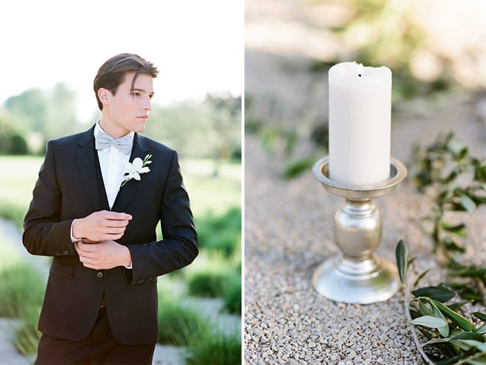 Styled shoot of groom and white candle on sliver holder