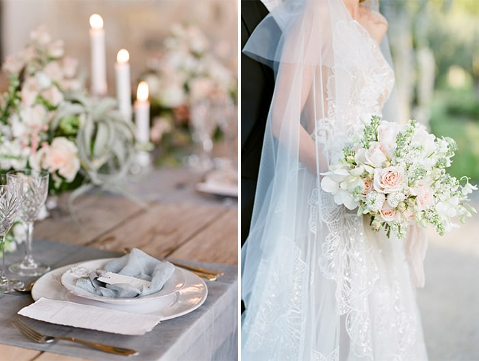 French Wedding reception table and bride in wedding gown with bouquet