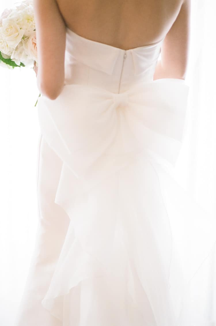 Bow on the back of a wedding dress at the Four Seasons Vail