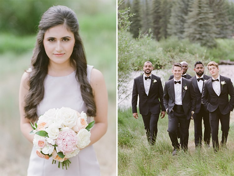 Wedding party at a summer wedding at the Four Seasons Vail in Colorado