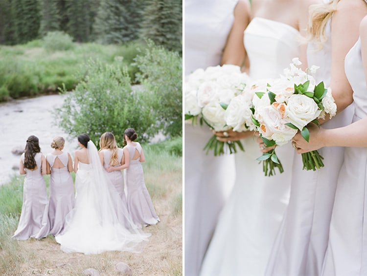 Bride and bridesmaids holding bouquets at a wedding at the Four Seasons Vail