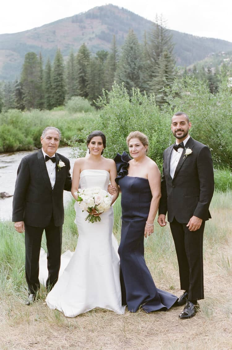 Outdoor family portraits at a Vail wedding