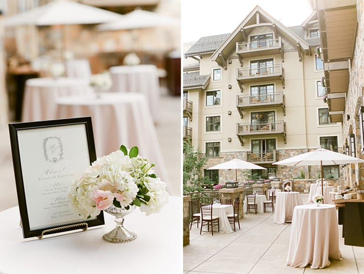 Cocktail hour for a wedding at the Four Seasons Vail