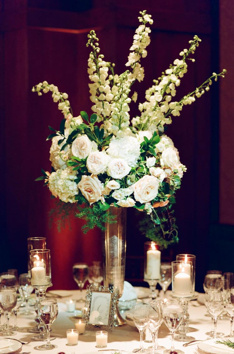 Floral arrangement at a wedding reception at the Four Seasons Vail