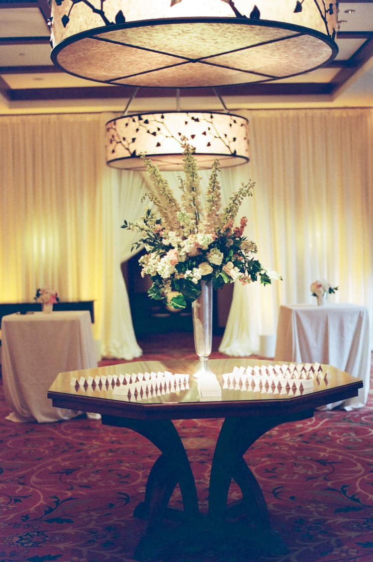 Escort card table at a wedding reception at the Four Seasons Vail