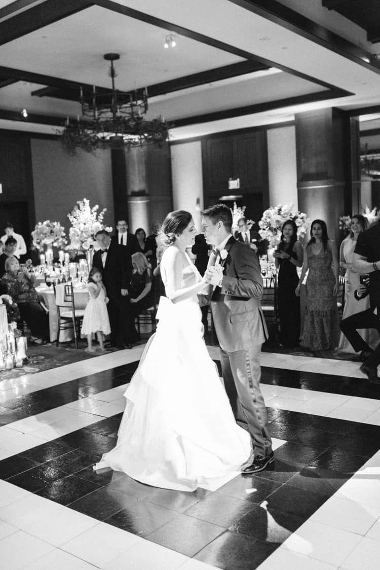 Bride and groom share their first dance at their wedding reception at the Four Seasons Vail