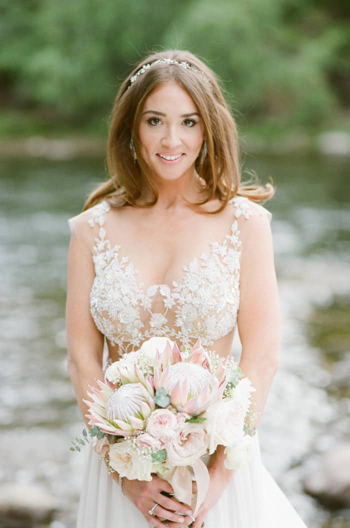 Galia Lahav Bride With Her Bouquet At The Westin Riverfront And Spa In Beaver Creek With Calluna Events