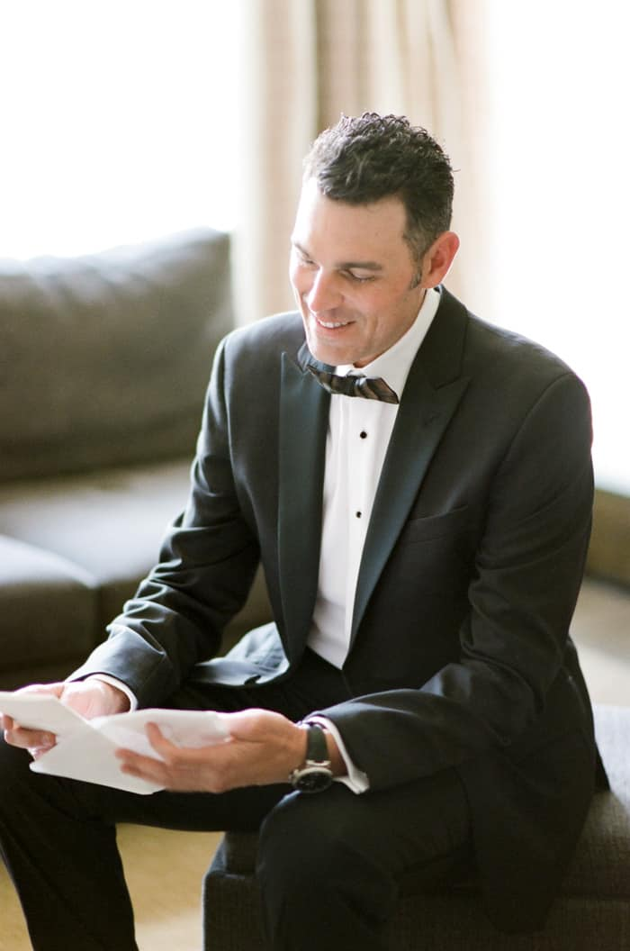Groom Reading Vow At The Westin Riverfront And Spa In Beaver Creek With Calluna Events