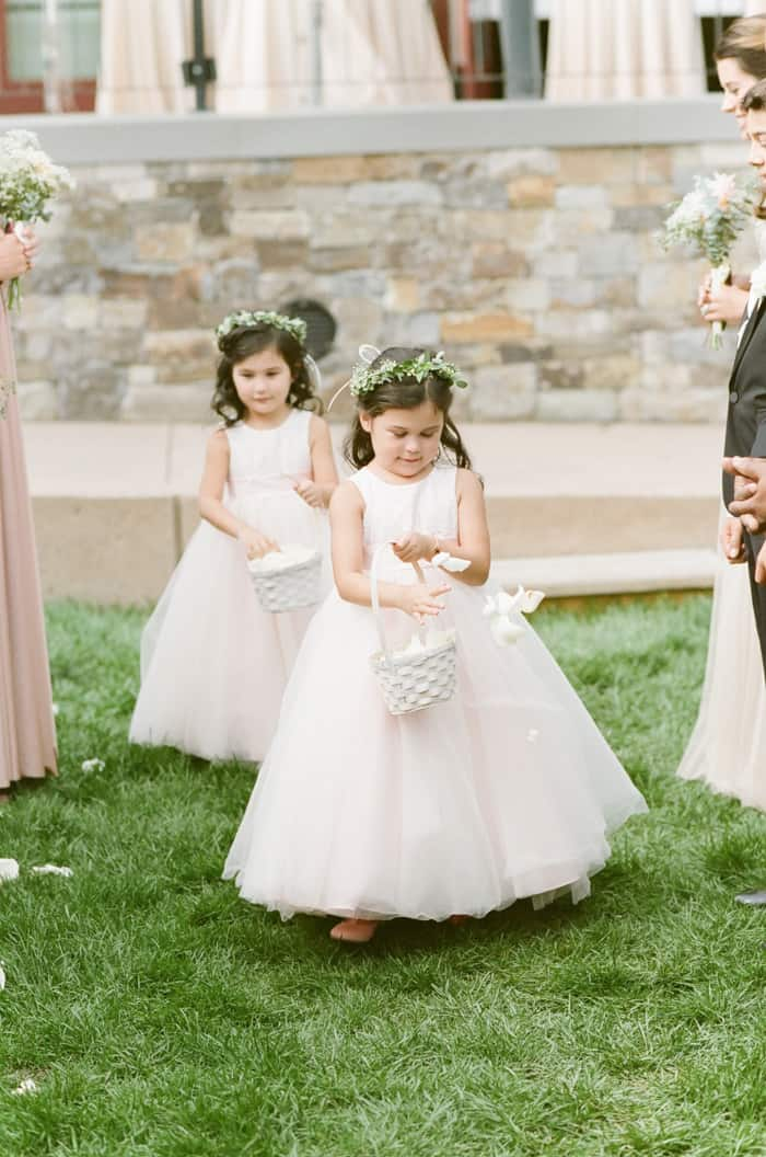 Flower Girls Walking Down The Aisle At Jewish Wedding At The Westin Riverfront And Spa In Beaver Creek With Calluna Events
