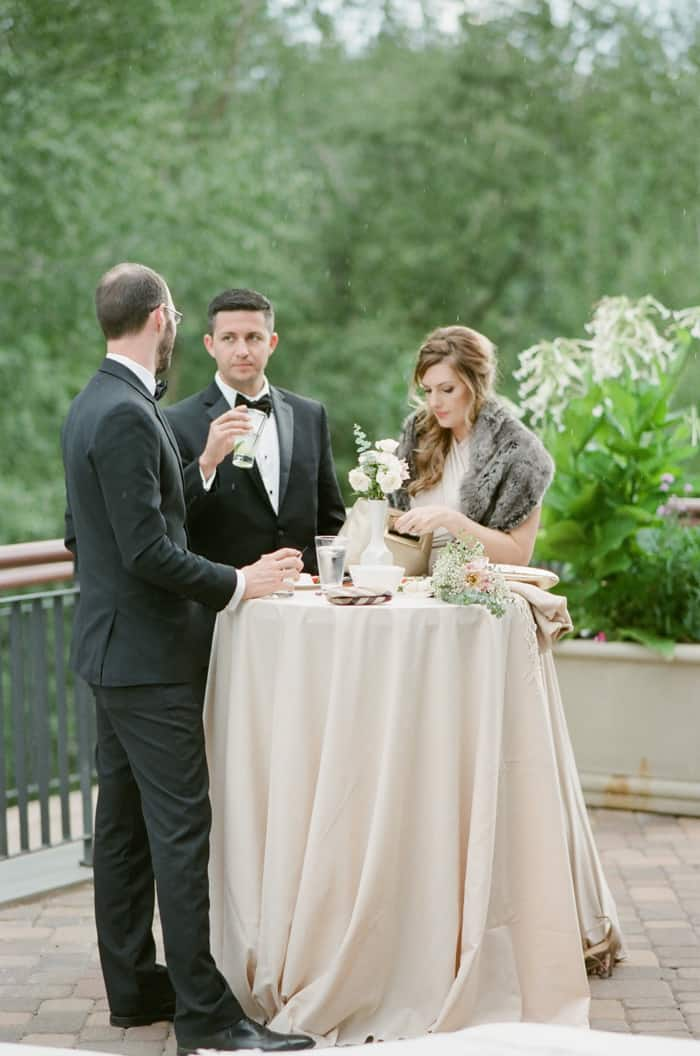 Guests Enjoying Cocktails At Jewish Wedding At The Westin Riverfront And Spa In Beaver Creek With Calluna Events