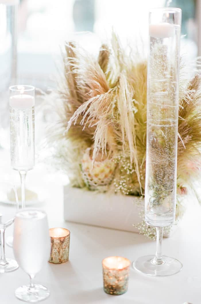 Pampas Grass Decor At Jewish Wedding At The Westin Riverfront And Spa In Beaver Creek With Calluna Events