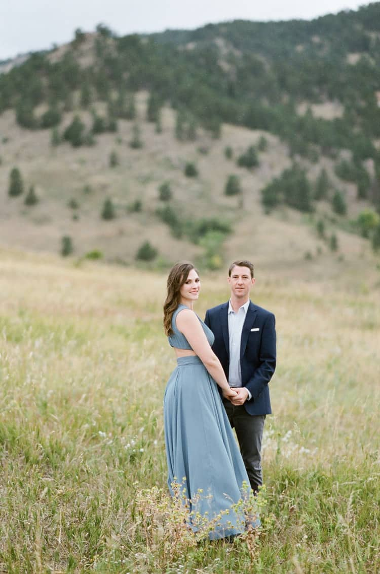 Bride and Groom In Front Of Flatirons In Boulder Planned By Cloud9 Bliss