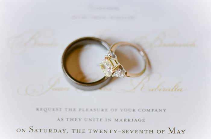 Close up of wedding rings on top of wedding invitation