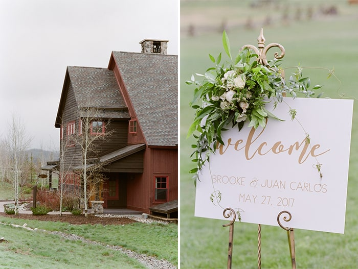 Devil's Thumb Ranch wedding venue with welcome sign
