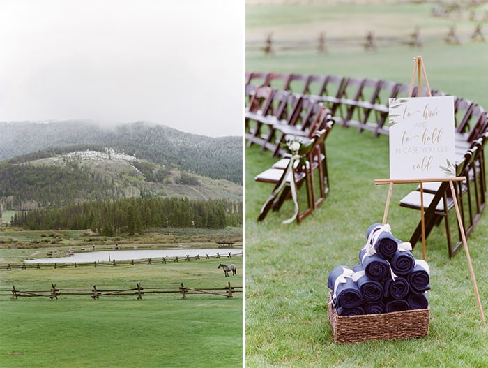Views of landscape at ranch and outdoor wedding ceremony