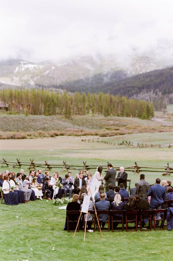Outdoor wedding ceremony at Devil's Thumb Ranch