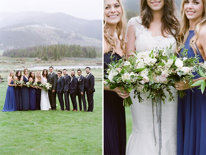 Bridal party together with view of Colorado backdrop
