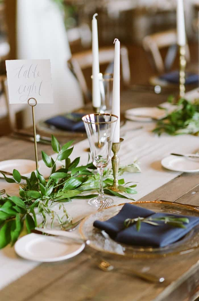 Details of wedding reception table