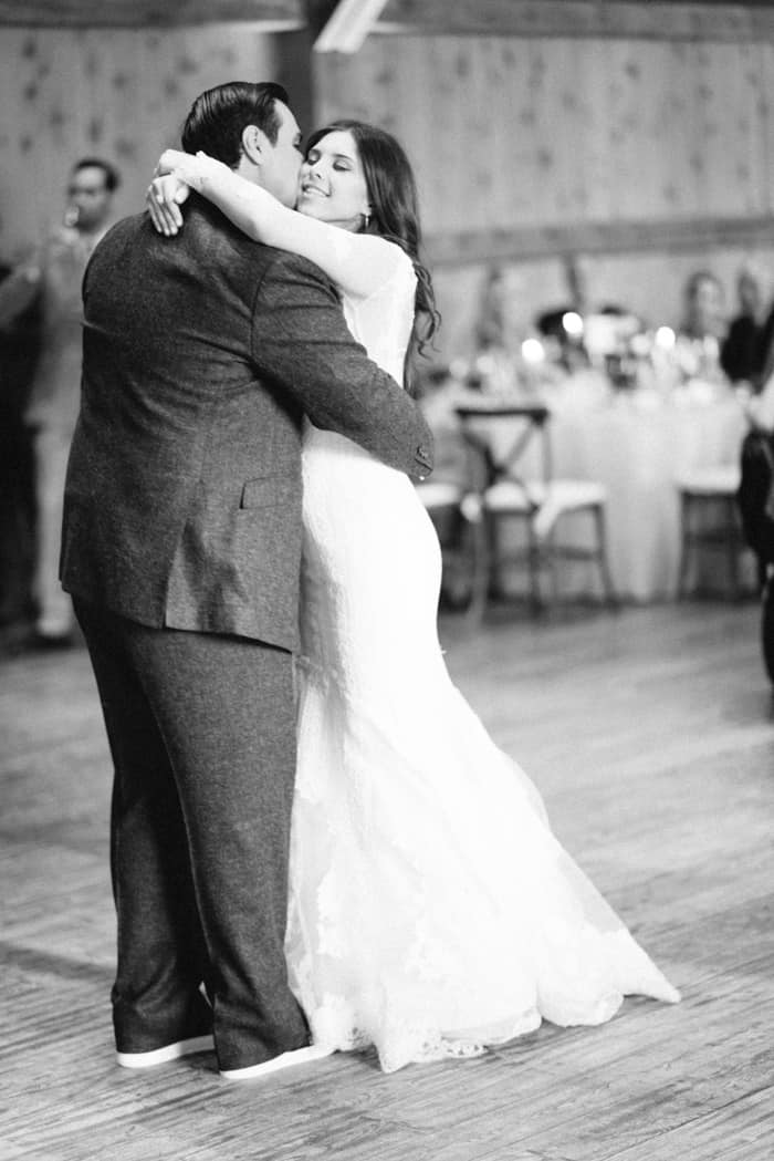 Married couple embracing on the dance floor