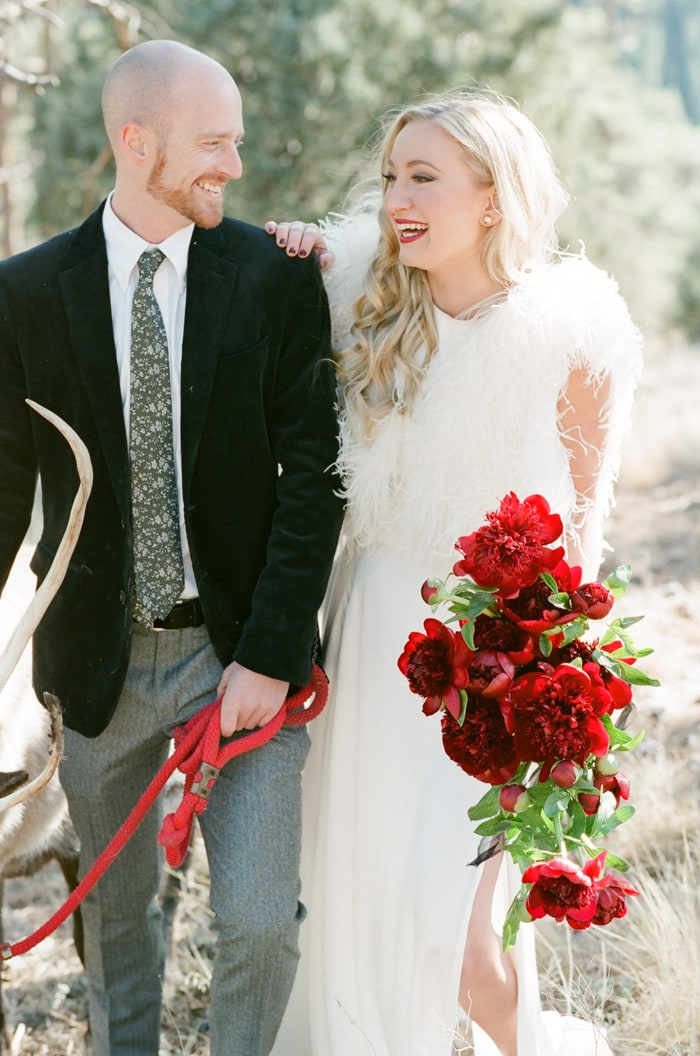 Festive looks of couple having a good time and laughing