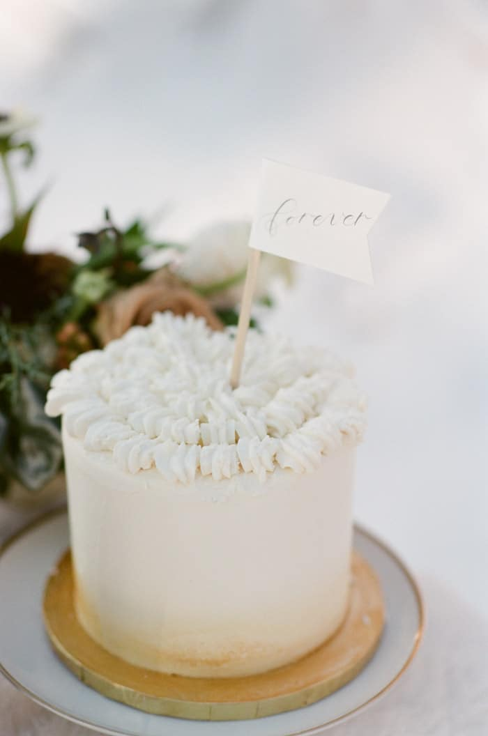 Wedding Cake At Vail Winter Engagement with Milk Glass Productions
