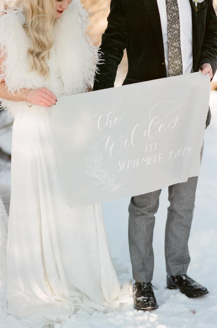 Wedding Banner At Vail Winter Engagement with Milk Glass Productions