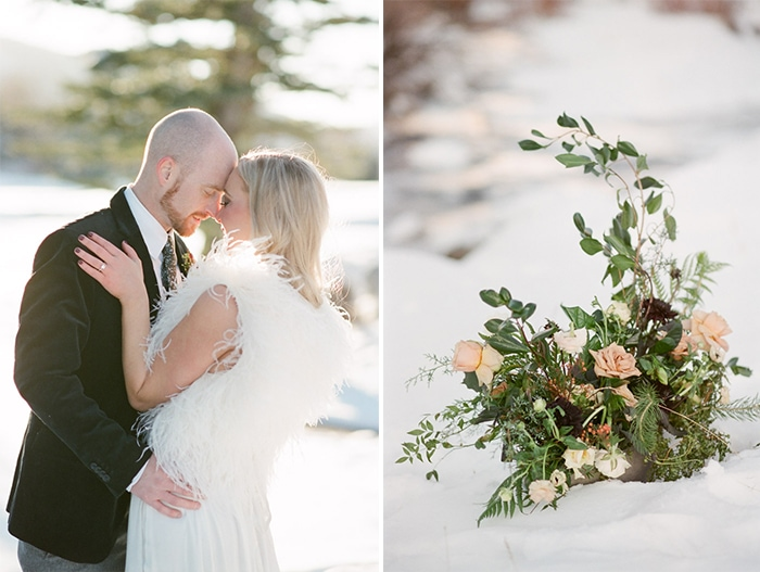 Winter engagement session and floral details