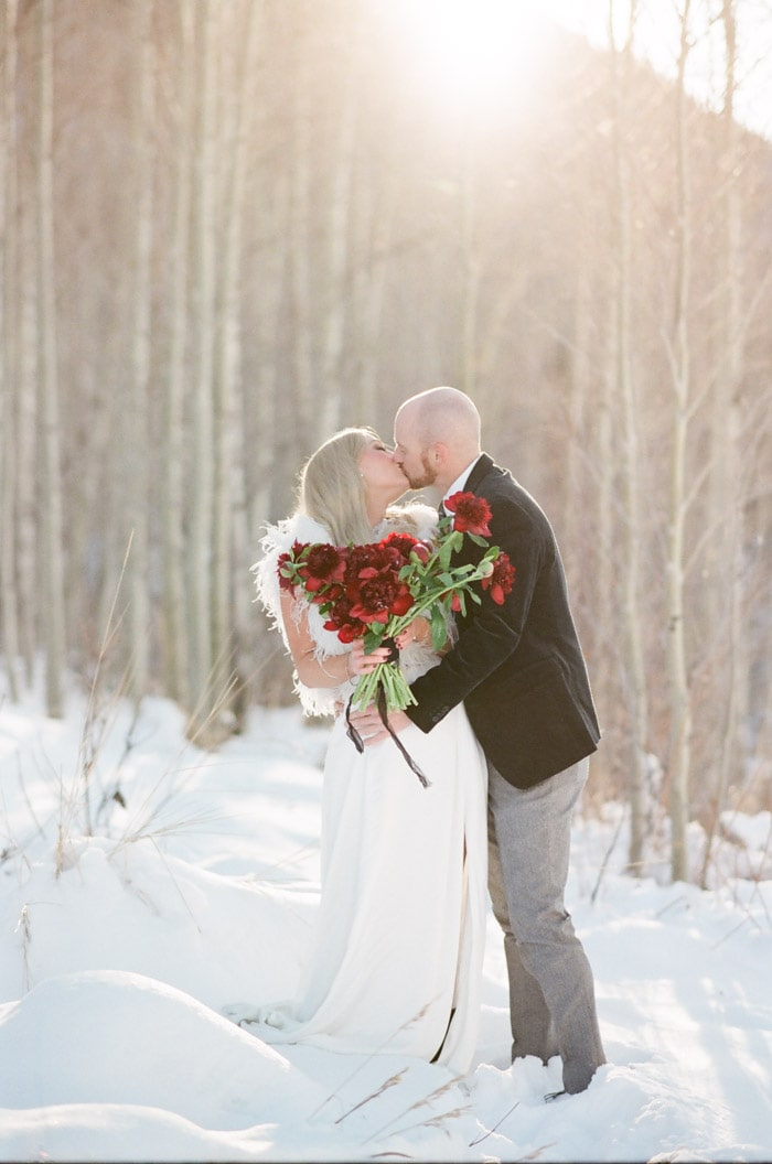 Kissing couple in the snow